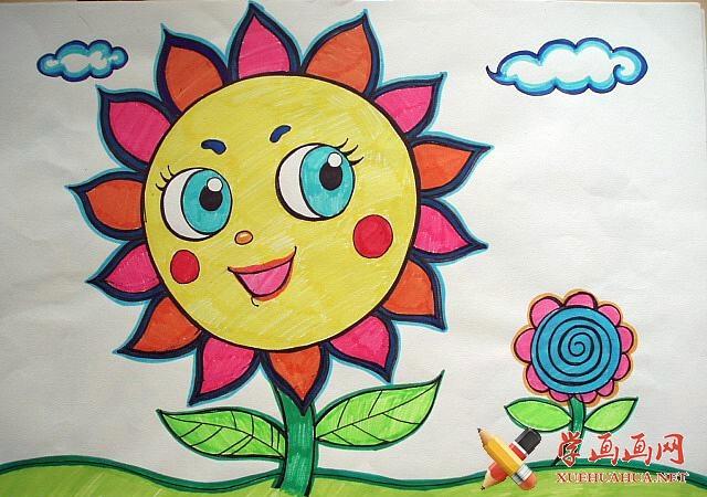 小学生儿童画作品《太阳花》(1)