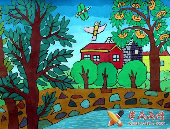 儿童画《柿子熟了》(1)