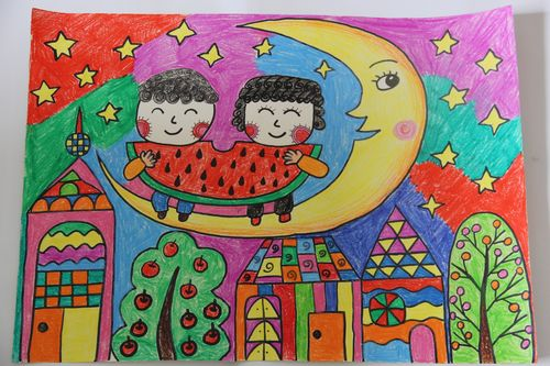 关于月亮的儿童画图片大全