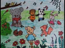 关于动物园的儿童画图片大全