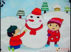 关于冬天和雪人的儿童画图片大全 (28).jpg