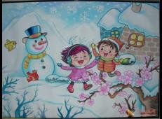 关于冬天和雪人的儿童画图片大全 (25).jpg