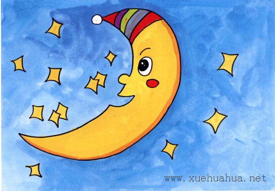 月亮船儿童画步骤4
