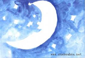 月亮船儿童画步骤1