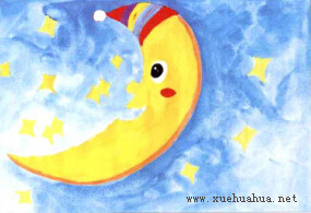 月亮船儿童画步骤3