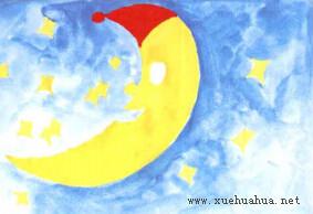 月亮船儿童画步骤2