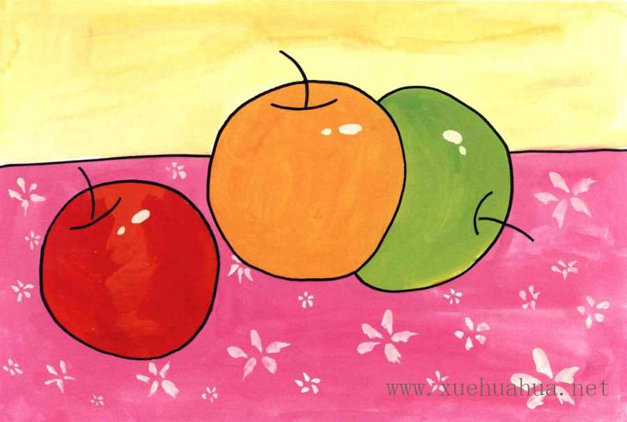 苹果水粉儿童画