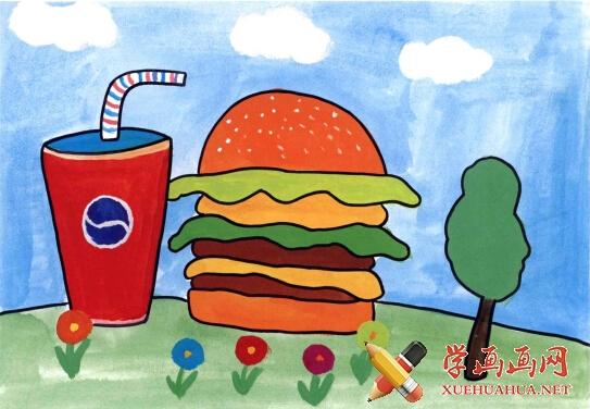 汉堡包学画画要点:准确画出汉堡的形状,抓住汉堡的特征,面饼、蔬菜、肉饼的颜色要有区分。整体色调既要有对比又要协调统一。 学画画步骤1、用铅笔勾勒汉堡和可乐的轮廓,再涂上绿色的草地和蓝色的天空  学画画汉堡儿童画步骤2、给汉堡和可乐涂上颜色,汉堡的层次要分明  学画画教程汉堡儿童画步骤3、在细节处加上一些装饰,使整体画面不显单调。  学画画教程汉堡儿童画步骤4、勾勒黑色的轮廓线 、