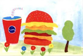 学画画教程汉堡包儿童画