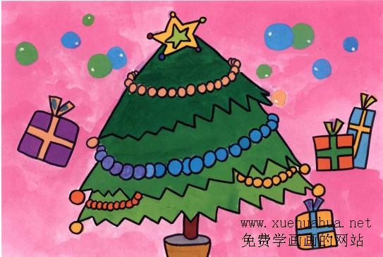 圣诞树儿童画教程
