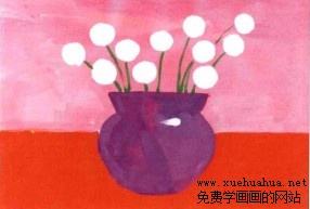 学画画小花盆儿童水粉画步骤3