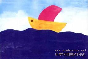 学画画小帆船儿童画