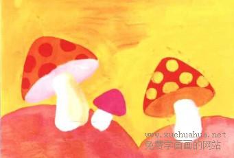 学画画小小蘑菇水粉画步骤