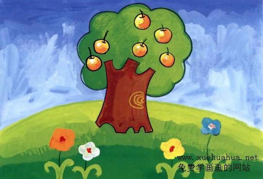 兒童學畫畫教程-蘋果樹