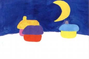 美丽的夜晚儿童画教程
