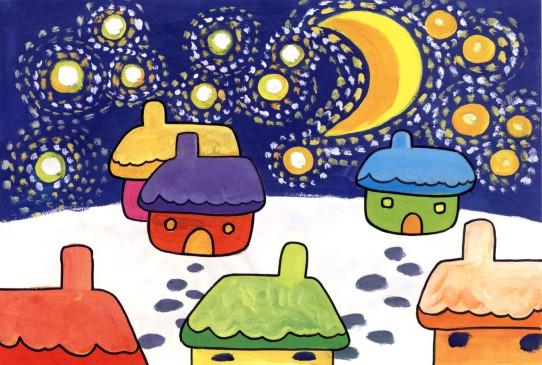 美丽的夜晚儿童画教程完成