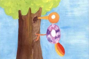 啄木鸟儿童水粉画