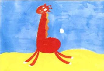 长颈鹿儿童水粉画教程
