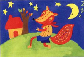 小狐狸儿童画步骤3图