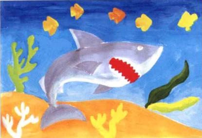 大鲨鱼水粉画教程