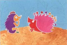 儿童画 刺猬/学画画步骤2.给小刺猬填上颜色,色彩要尽量鲜艳、饱和。