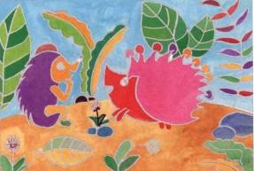 小刺猬水粉儿童画