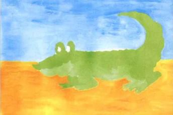 鳄鱼水粉儿童画教程步骤2