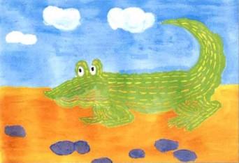 鳄鱼水粉儿童画教程步骤3