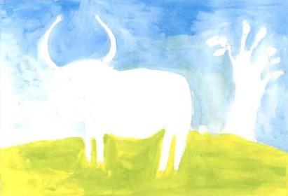 老黄牛儿童水粉画教程步骤1