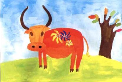 老黄牛儿童水粉画教程步骤3
