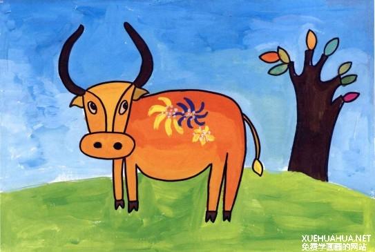 老黄牛儿童水粉画教程步骤4