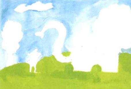 水粉儿童画教程-大象给老鼠洗澡步骤1