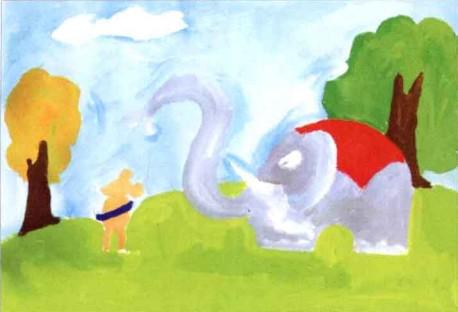水粉儿童画教程-大象给老鼠洗澡步骤2