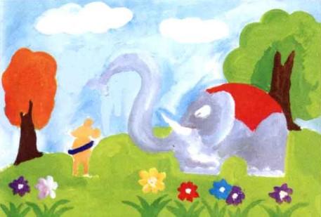 水粉儿童画教程-大象给老鼠洗澡步骤3