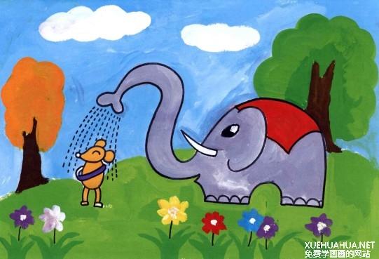 水粉儿童画教程-大象给老鼠洗澡步骤4