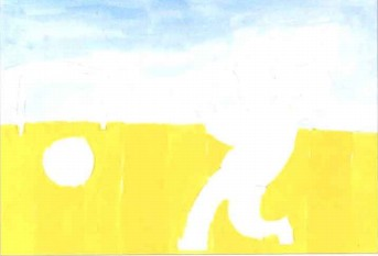 踢足球儿童水粉画教程步骤1