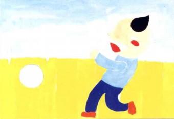 踢足球儿童水粉画教程步骤2