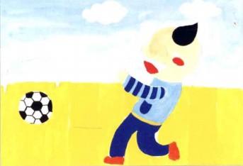 踢足球儿童水粉画教程步骤3