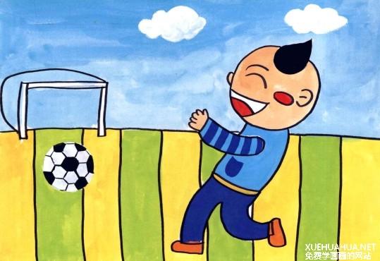 踢足球儿童水粉画教程步骤4
