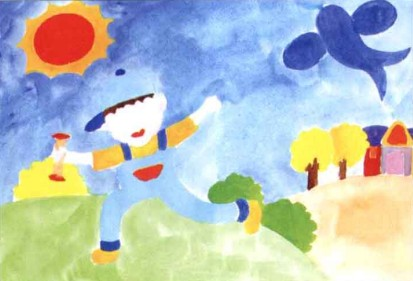 放风筝儿童水粉画教程步骤2