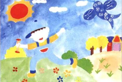 放风筝儿童水粉画教程步骤3