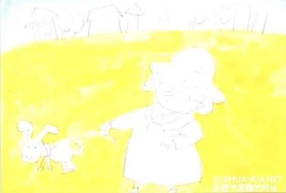 遛狗的老奶奶儿童画教程