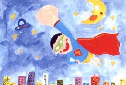 小超人水粉儿童画教程步骤3