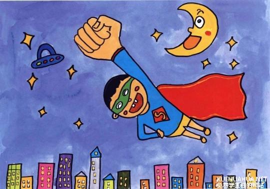 小超人水粉儿童画教程步骤4