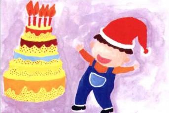 幼儿学画画 我的生日蛋糕步骤3