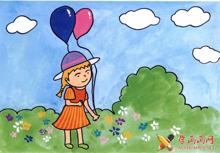 儿童学画画教程 《拿气球的小女孩》(4)