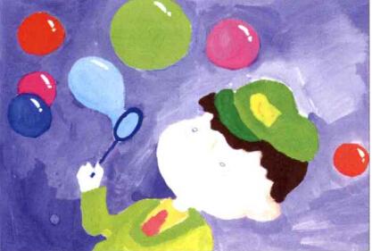 儿童画吹泡泡的小男孩步骤(2)