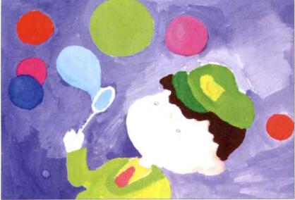 儿童画吹泡泡的小男孩步骤(3)