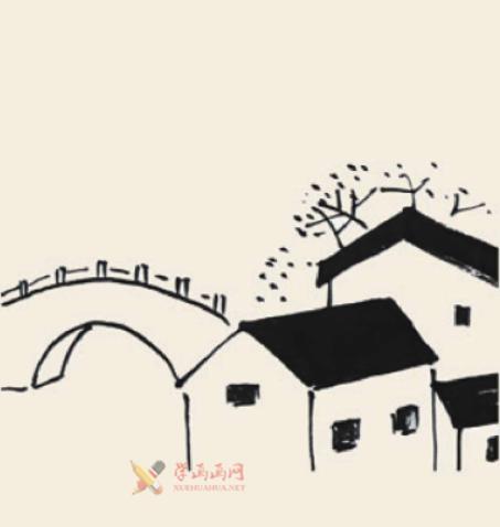 儿童国画入门《小桥流水人家》的画法(2)