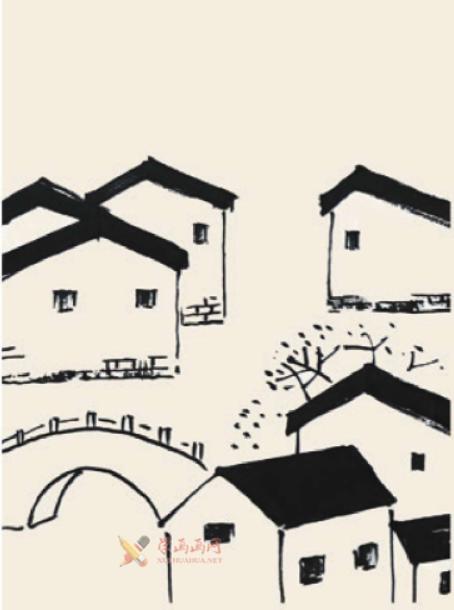儿童国画入门《小桥流水人家》的画法(3)